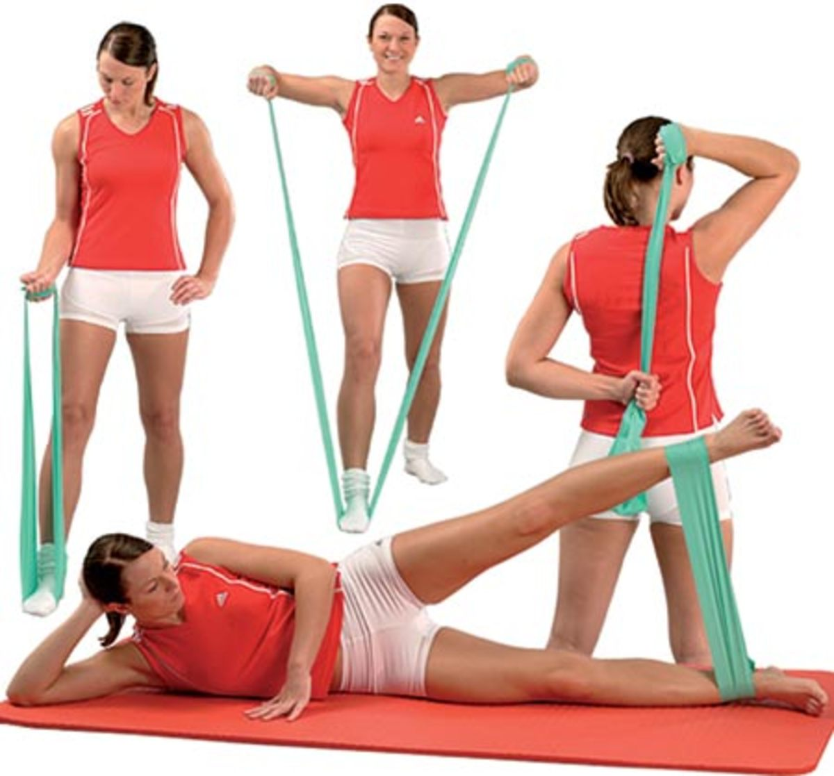 Four Resistance Band Movements - Woman in Orange and White Shorts