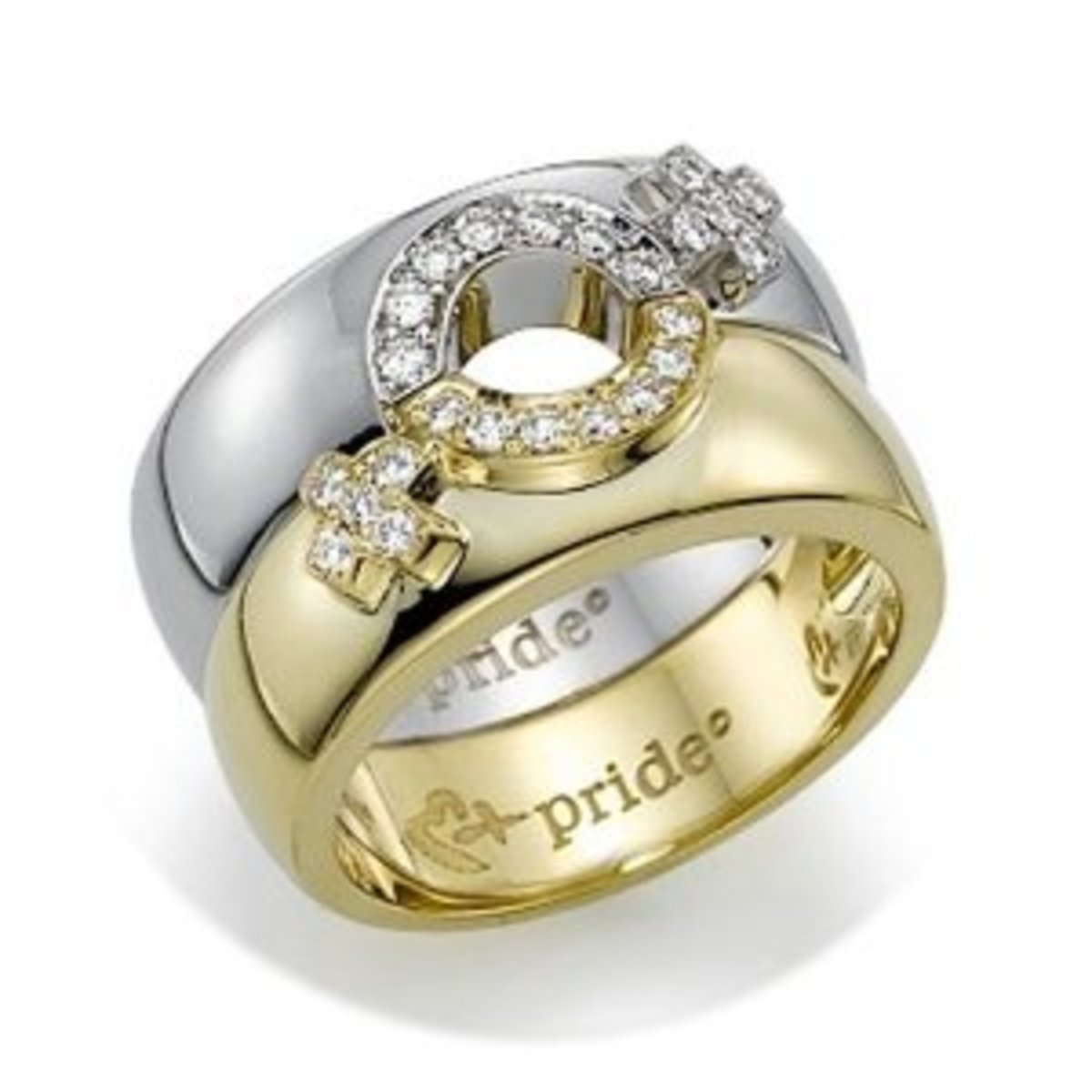 18K yellow and 18K White Gold ring set with diamond lesbian insignia.