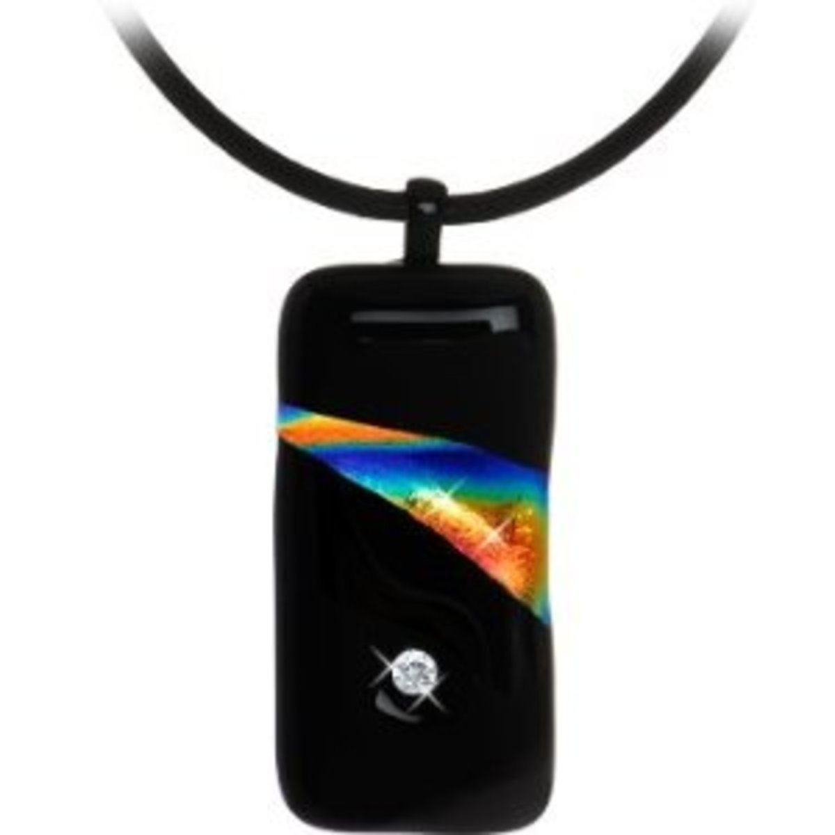 Gay Pride Black and Rainbow Diamond Pendant Necklace on a rugged leather strap.