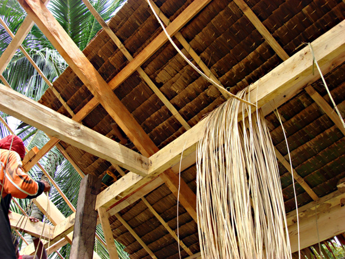 Native nipa roof with rattan twine