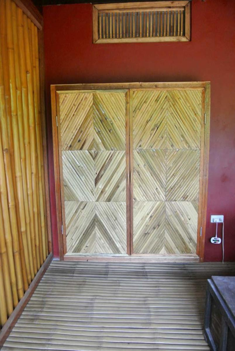 Broom closet made from scrap bamboo