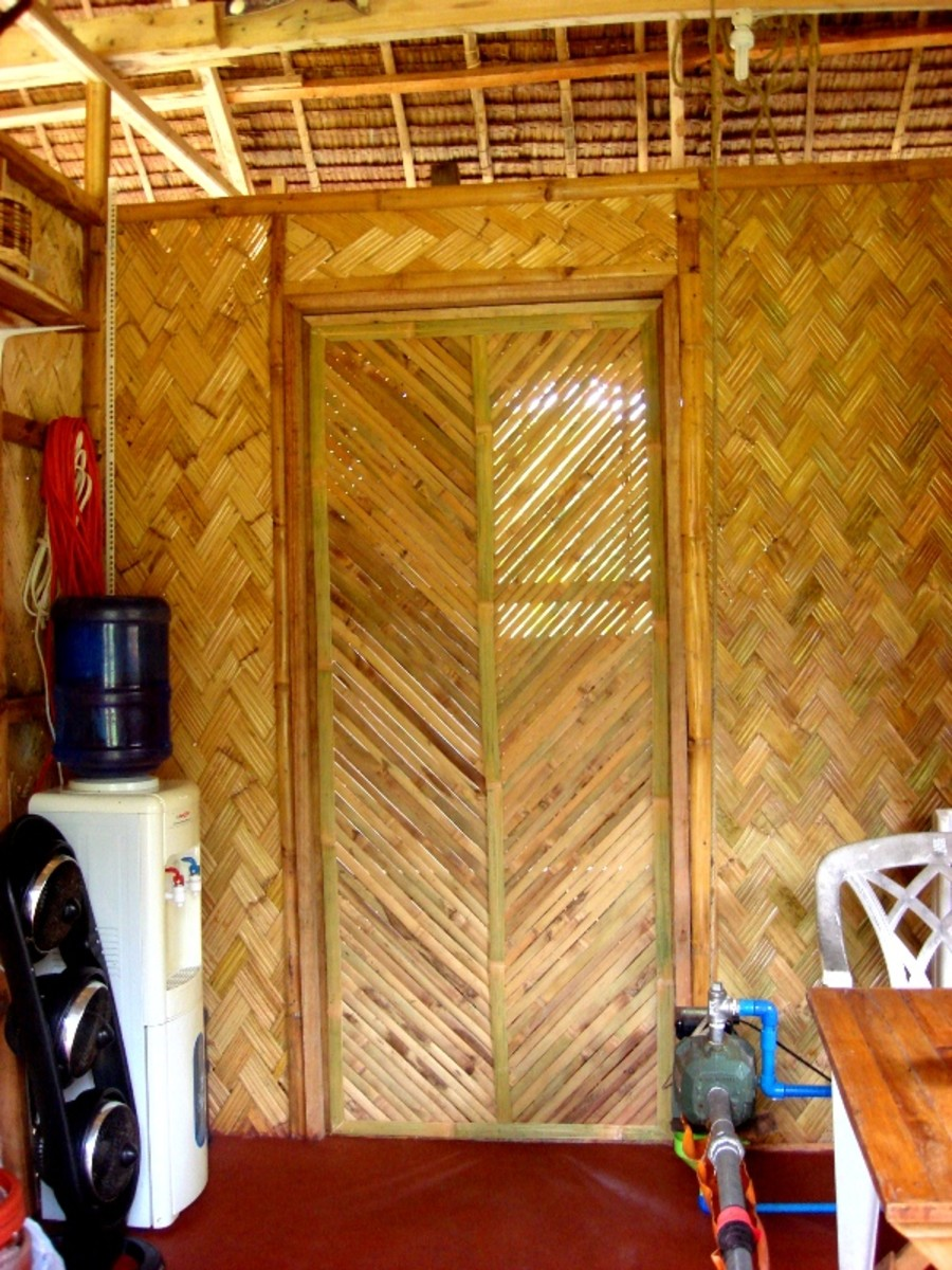 Bamboo shower door from our own grove.