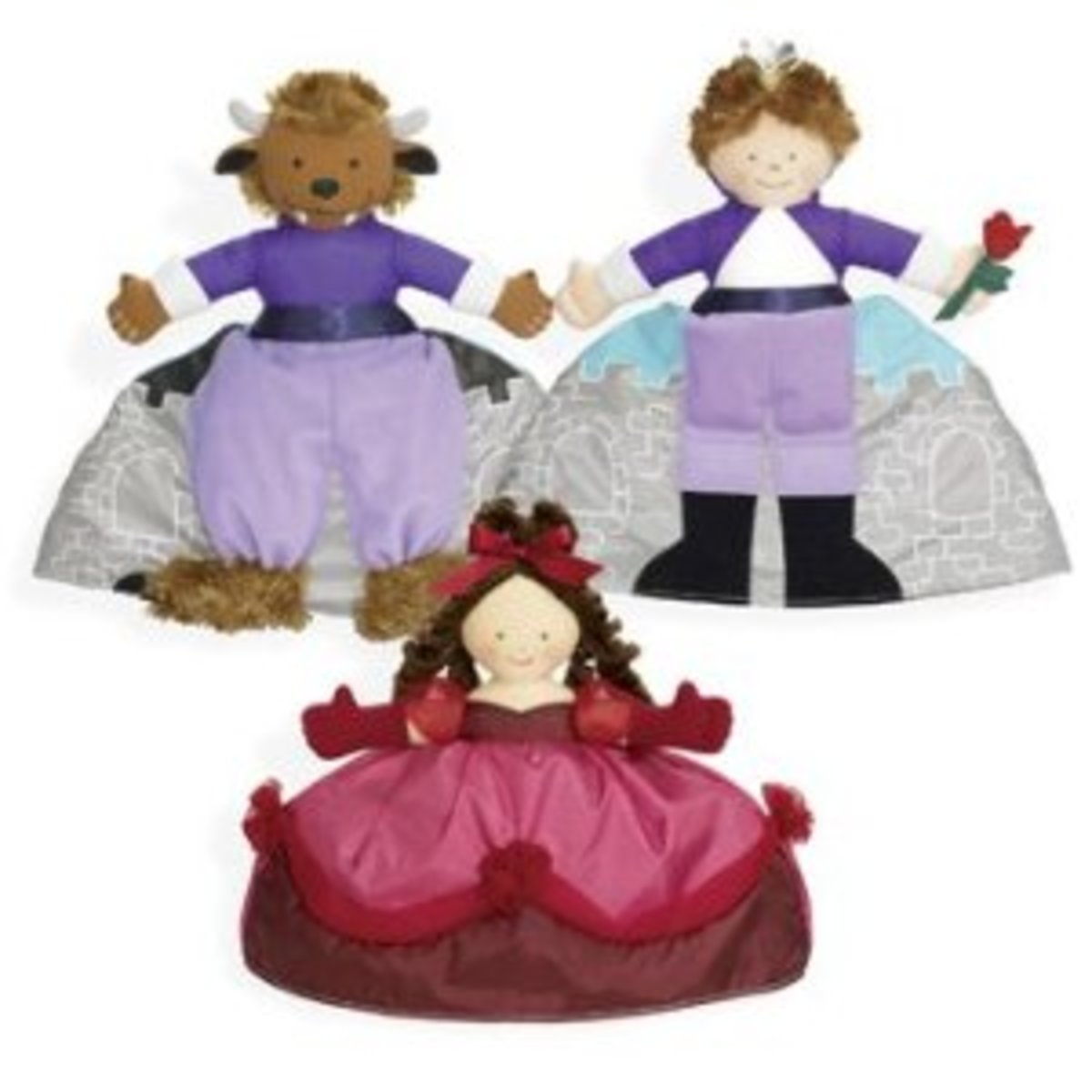 Three dolls in one make the tale of Beauty and the Beast come alive for young children.