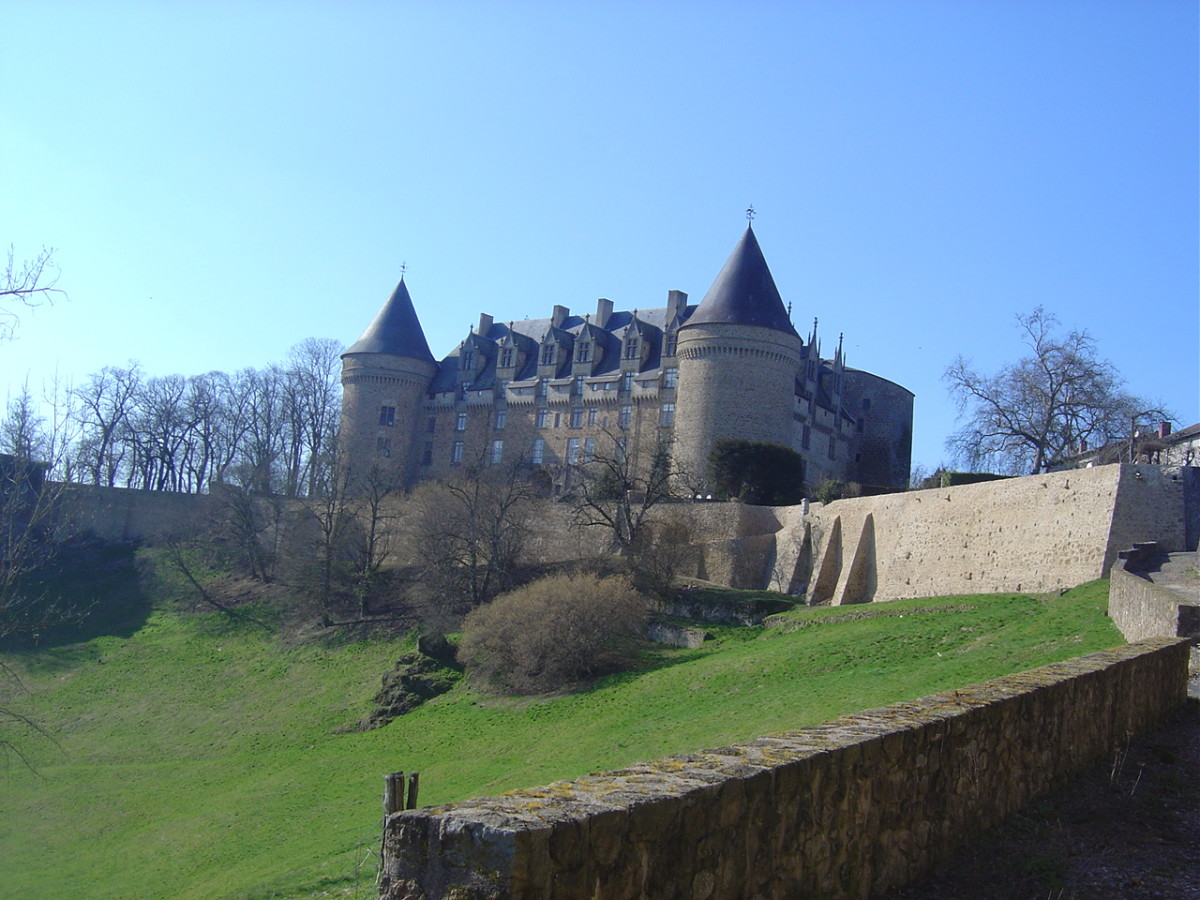Rochechouart Castle is built on a rocky outcrop looks out over the surrounding countryside