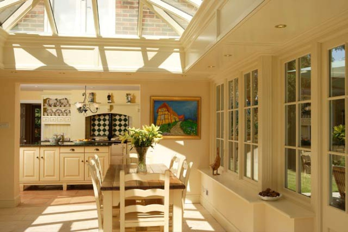 beautiful sun room or organgery in a kitchen area