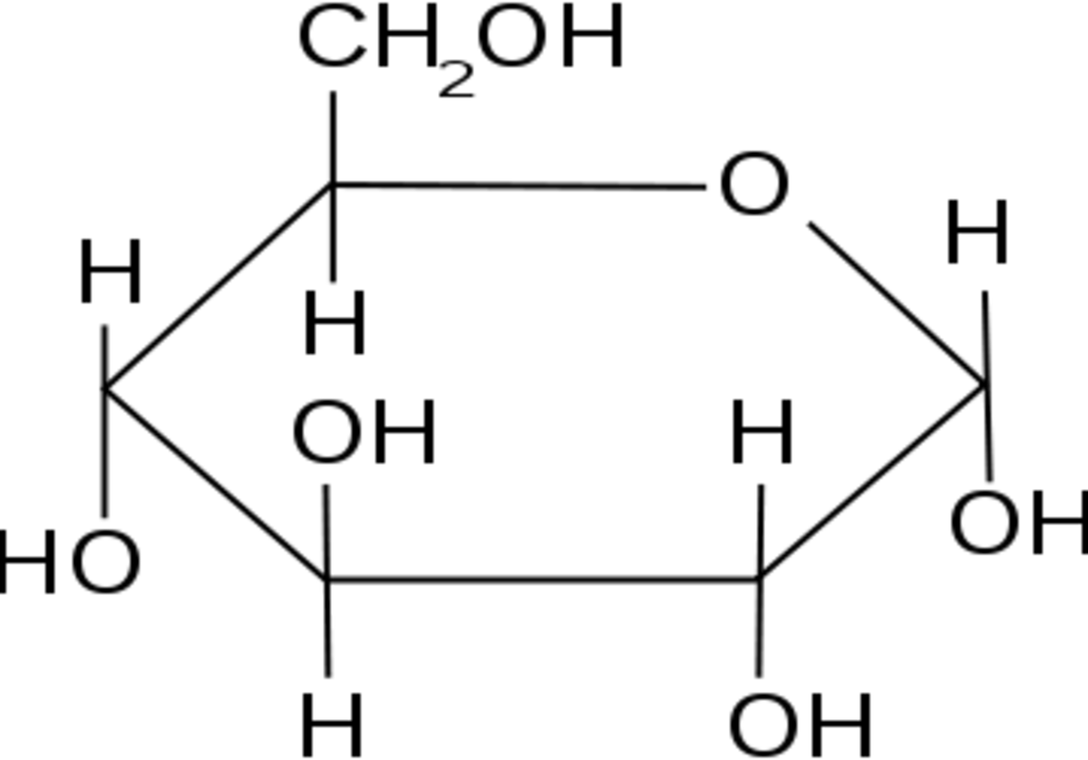 Alpha-glucose, an example of a carbohydrate. You can see in the diagram this molecule contains only Carbon, Hydrogen and Oxygen.