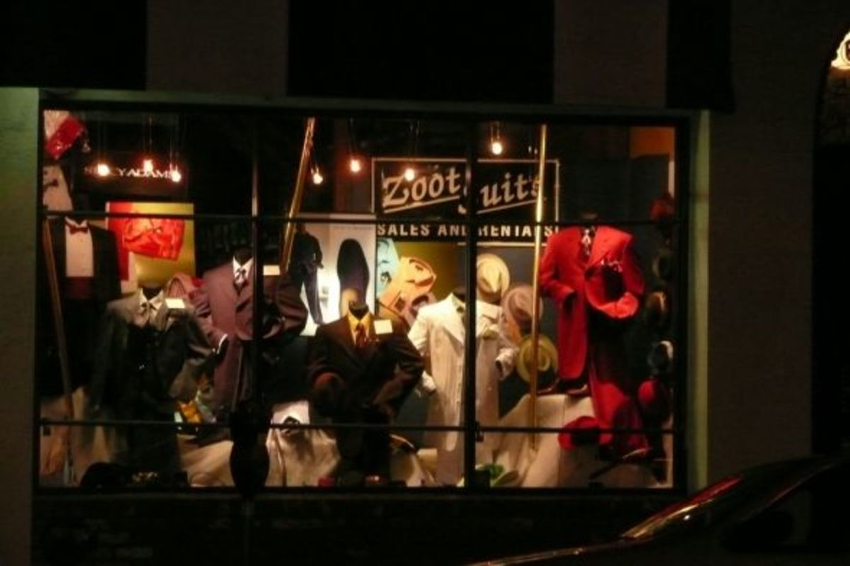 Colorful modern-day zoot suits in a shop window, San Francisco