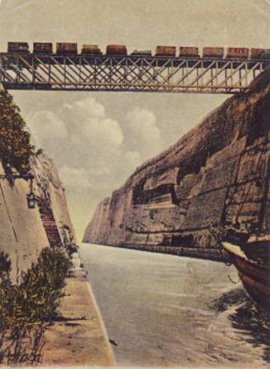 Old picture postcard of the Corinth Canal