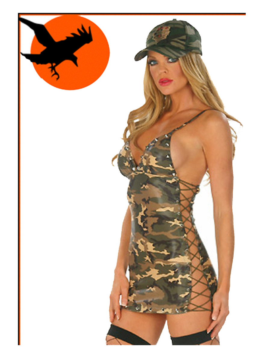 Camouflage patterned lace up dress costume