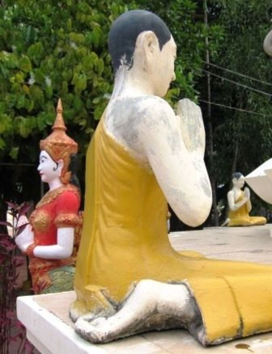 Statues in Wat Botum in Traditional Cambodian