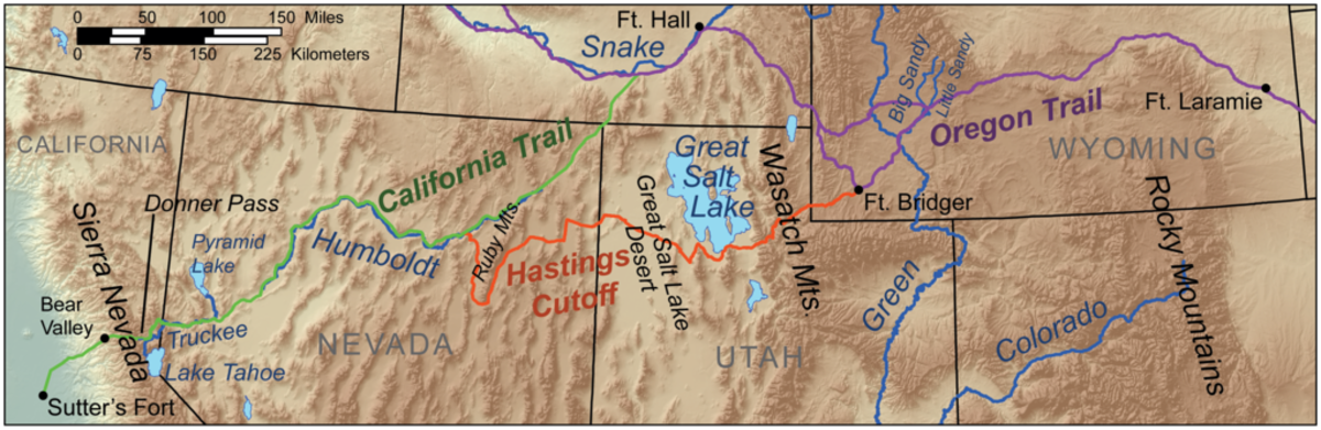 The Hastings Cutoff  added 150 miles to the journey.