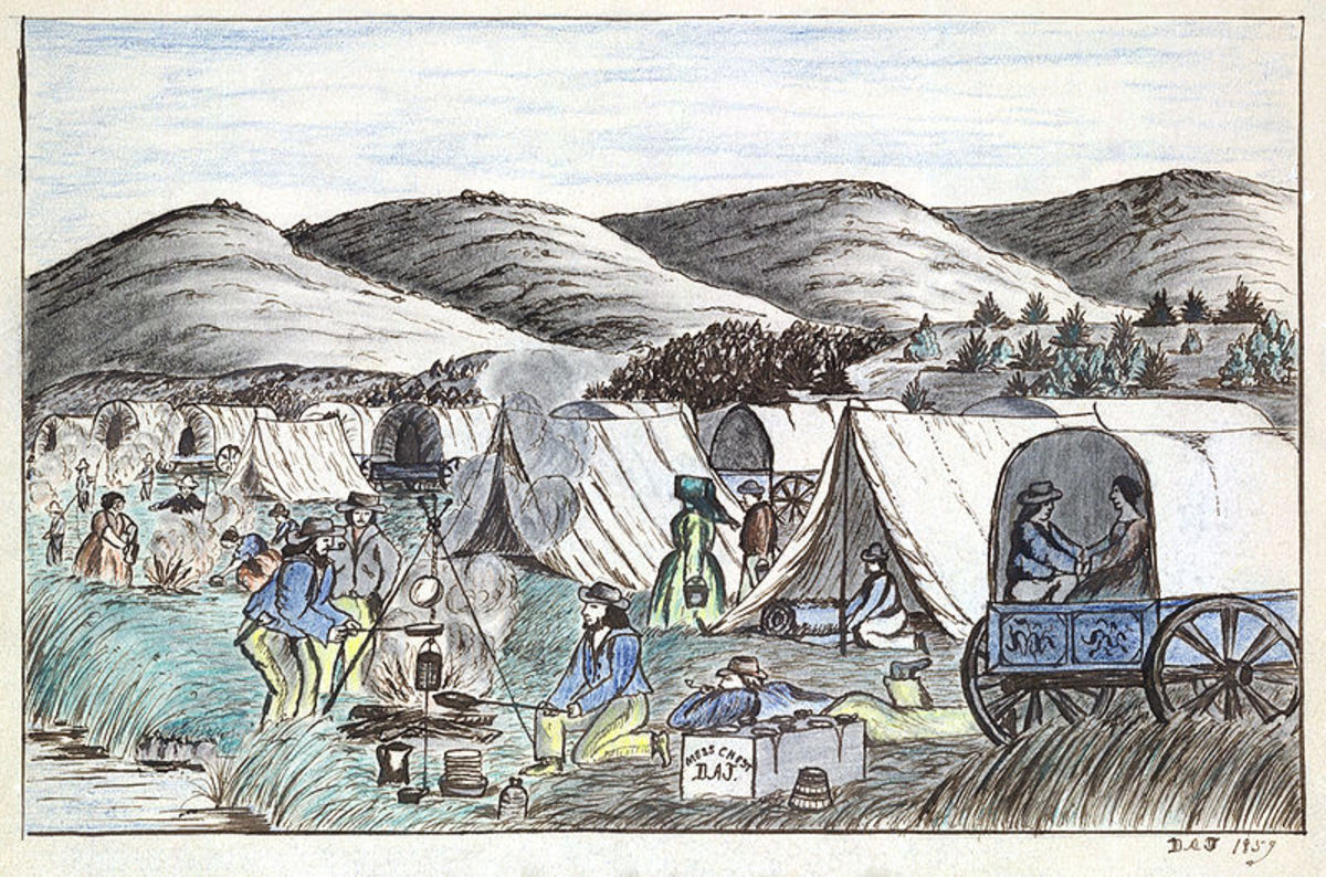 An emigrant encampment  on the Humboldt River in Nevada, 1859