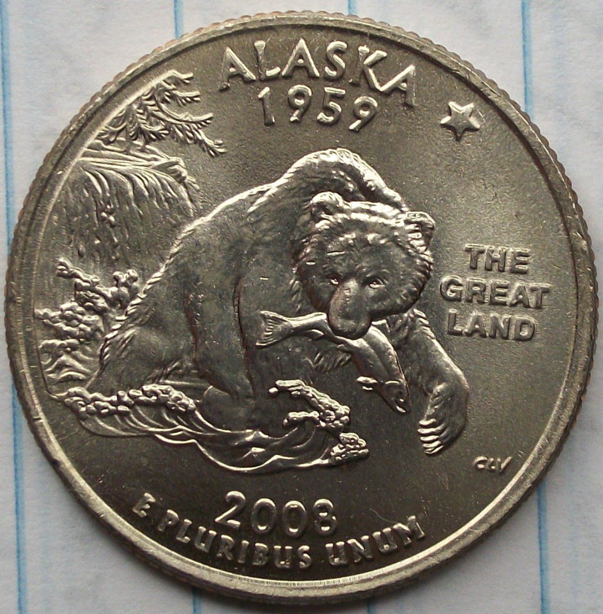 Reverse of the 2008P Alaska Statehood Quarter.