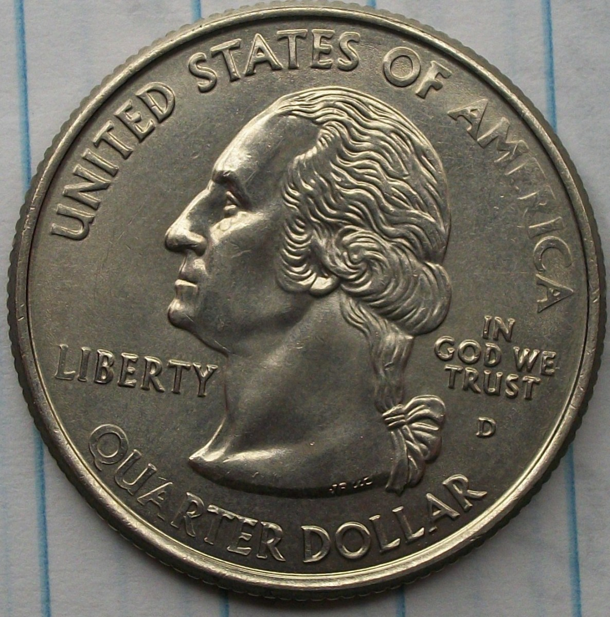 Obverse of a 2006D Nebraska Statehood Quarter Polished Die to point where part of the image appears lightly struck.