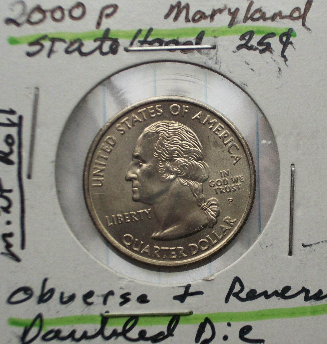 2000P Maryland Statehood Quarter Doubled Die Reverse