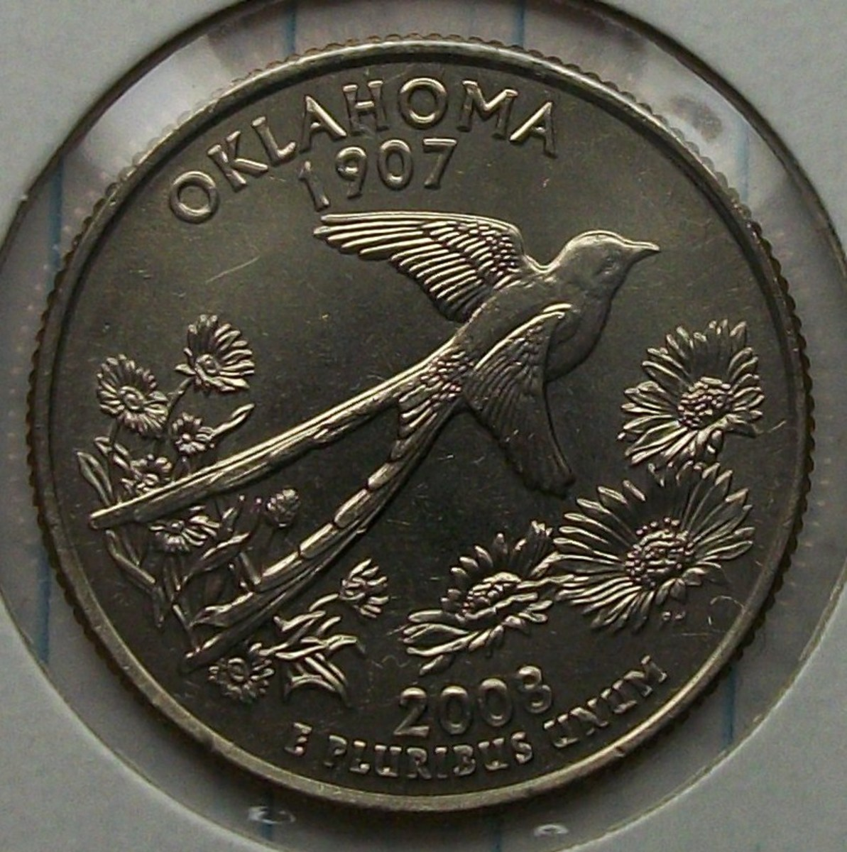 reverse of the above 2008D Oklahoma Statehood Quarter