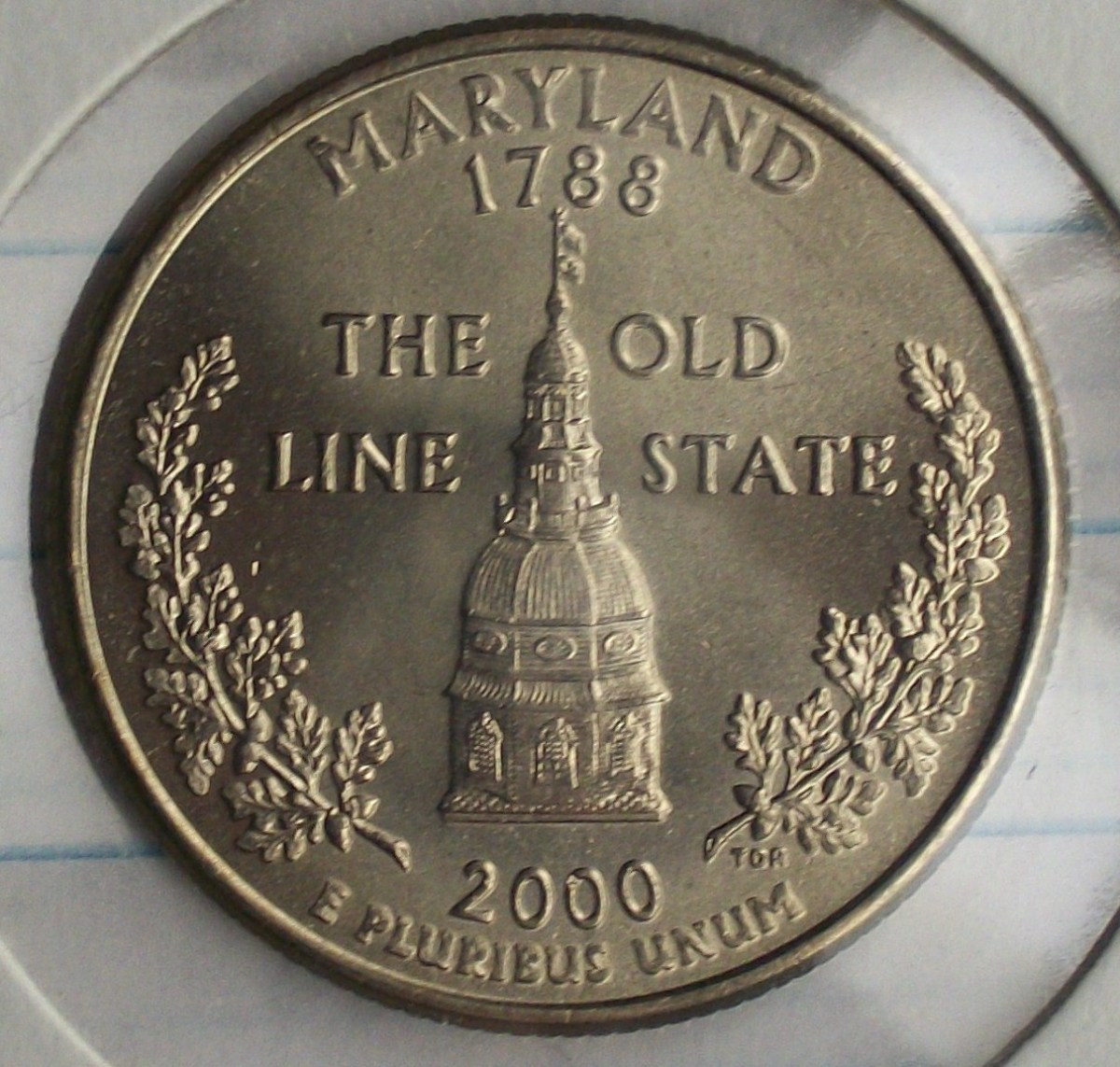 Full view of the Reverse on the 2000P Maryland Statehood Quarter