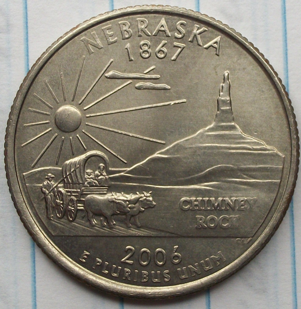 reverse of the 2006D Nebraska Quarter also heavly polished.