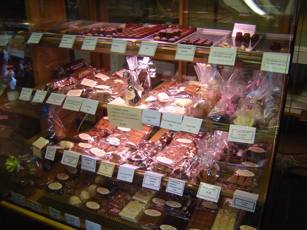 Inside the tiny shop is packed with freshly made chocolates
