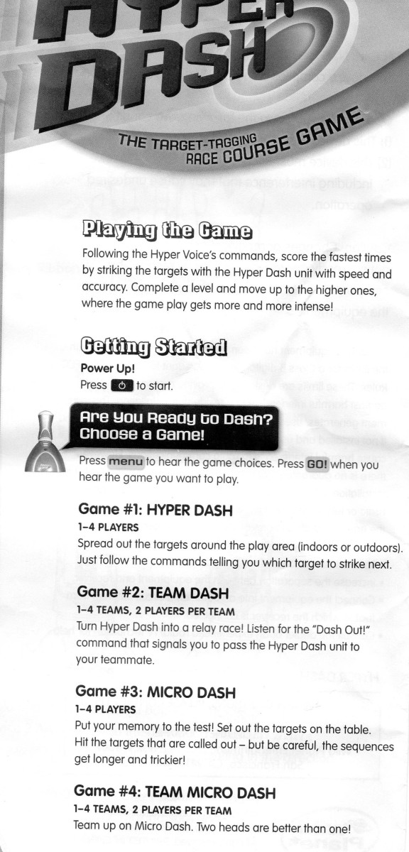 Hyper Dash Game Instructions Page 1