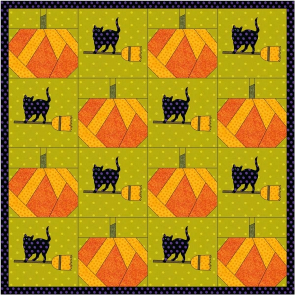 Cats and Jack-o'lanterns quilt