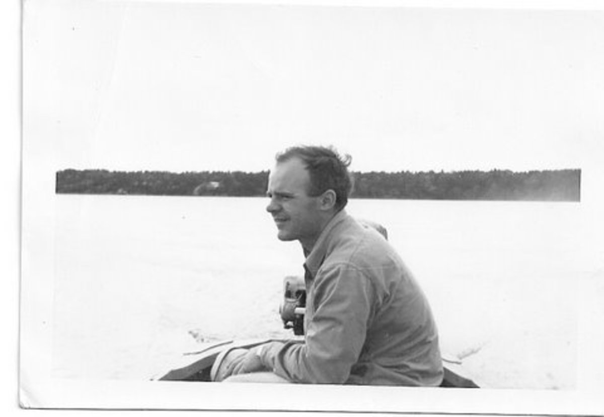Dad as a young man in his fishing boat on Lake Minnetonka, Minnesota