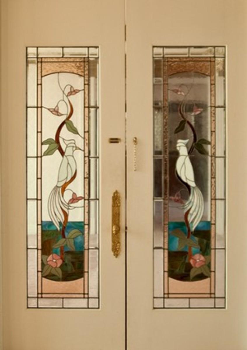 Stainglass doors to indoor pool