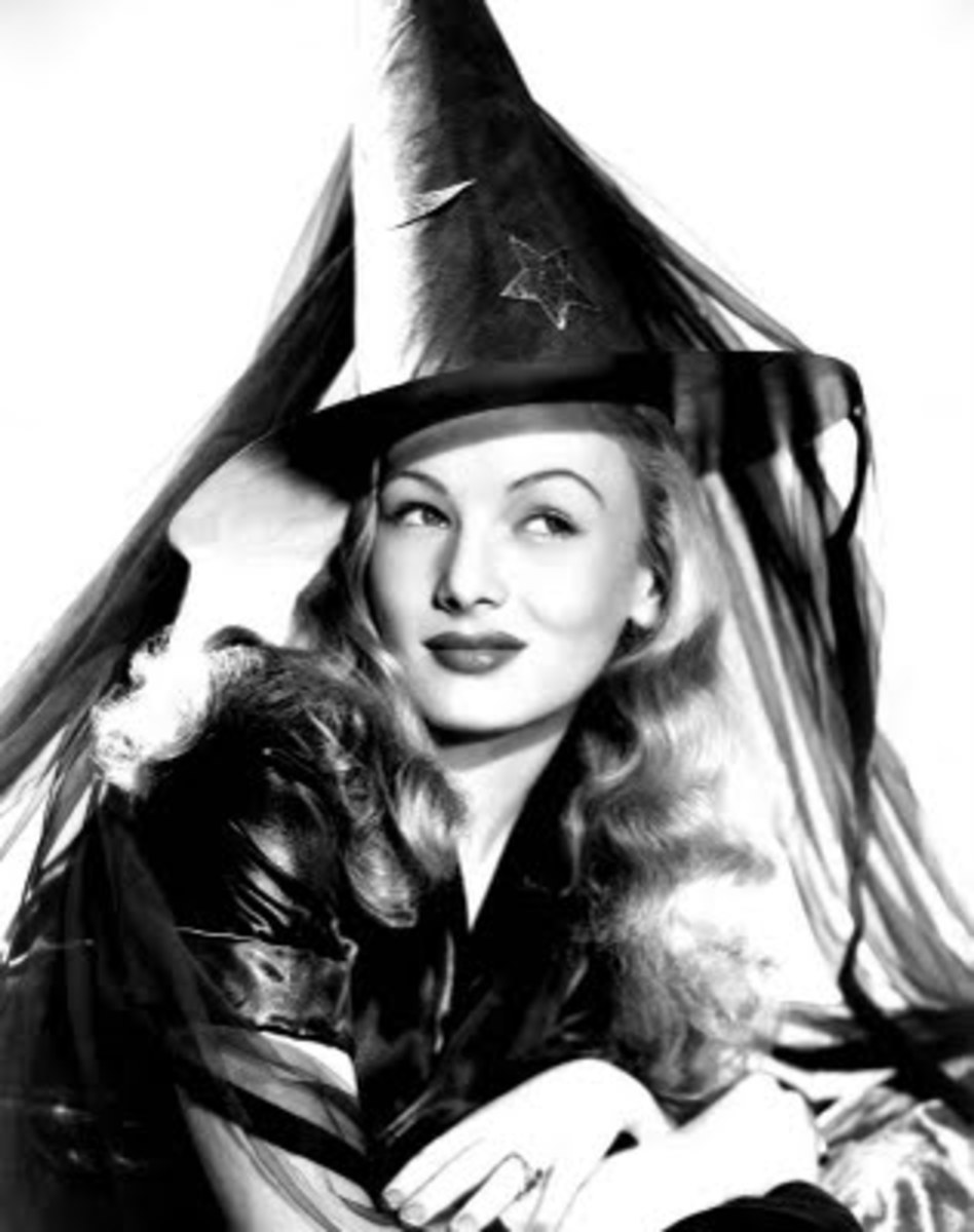 "Veronica Lake - star of  the 1942 film ""I Married a Witch"" - ""A 300-year-old witch wreaks havoc when she falls in love with a young politician."""