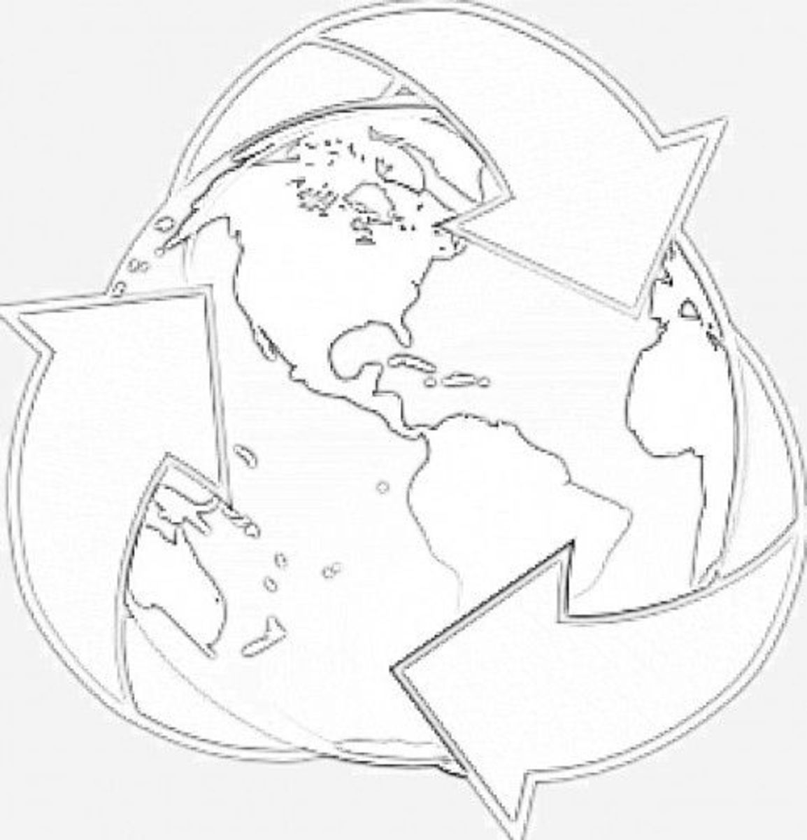 recycle earth coloring page