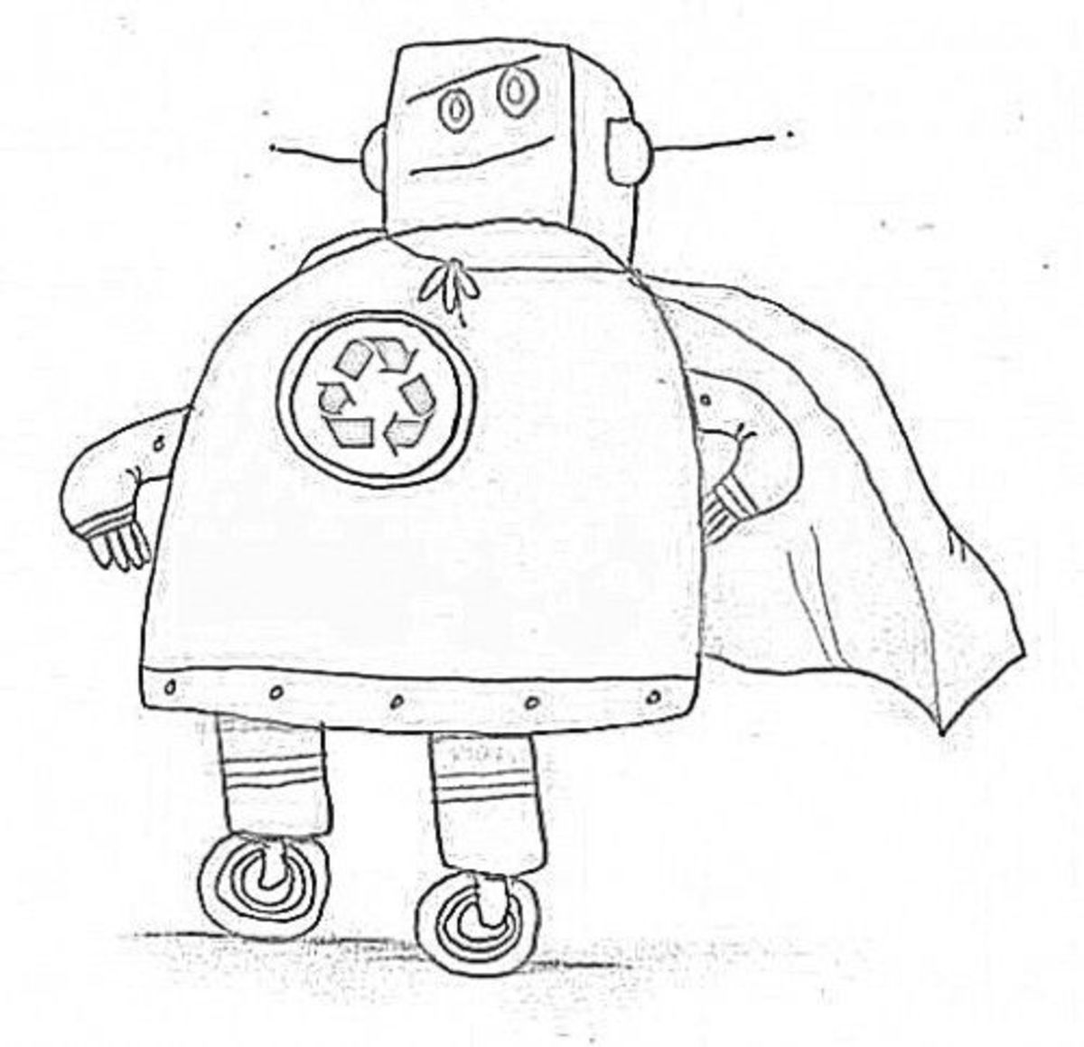 recycle robot coloring page