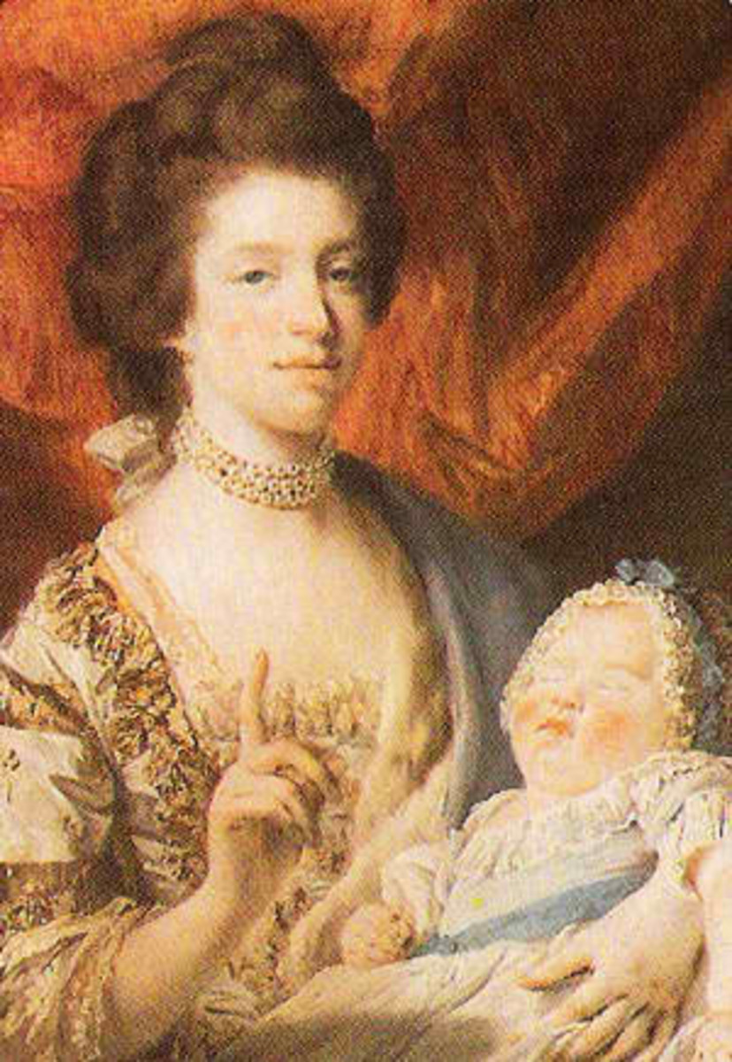 Queen Charlotte holding her daughter Princess Royal Charlotte