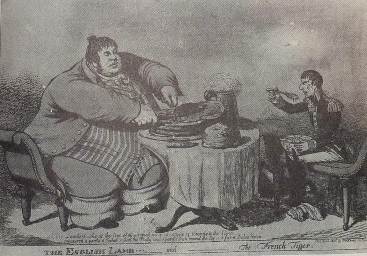 Cartoon of Daniel Lambert having dinner with Napoleon