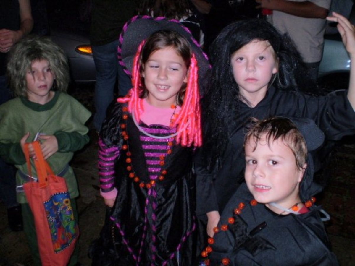 kids in costume reflect old tradition of fooling the demons at Sanheim