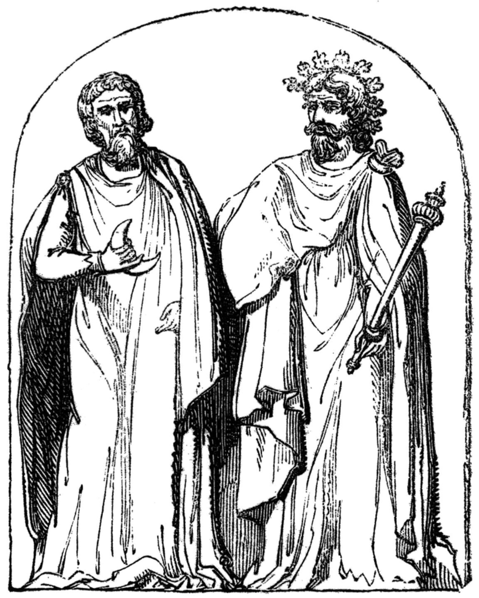 "18th-century engraving reproducing a bas-relief found at Autun, France, depicting ""two druids"""
