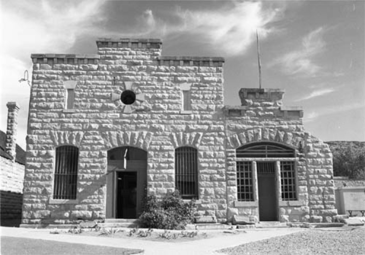 The front of the closed down old Idaho State Penitentiary. The prison was closed in 1973.