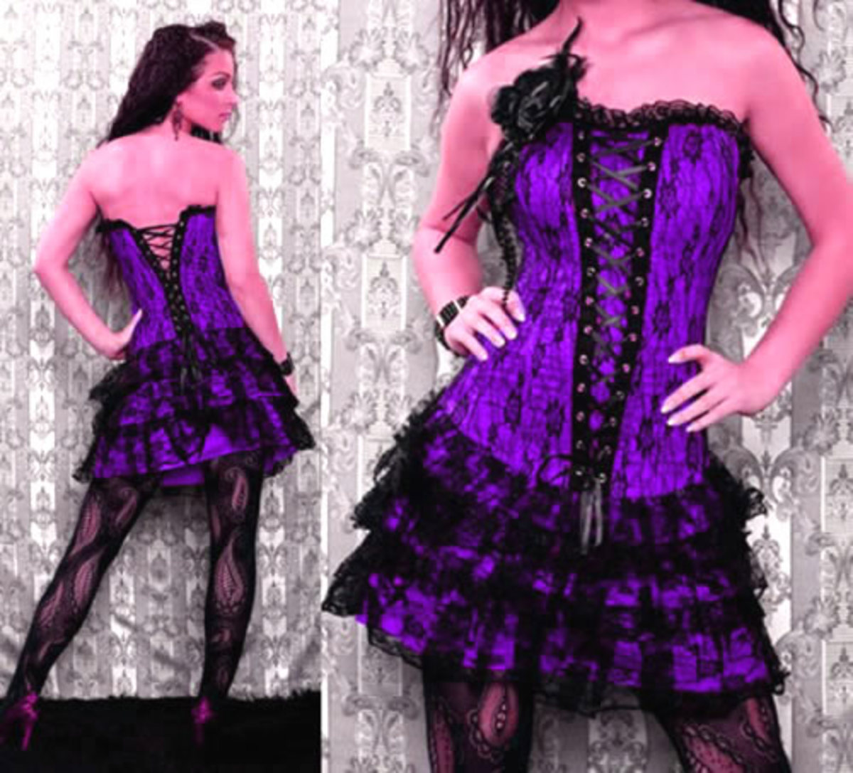 Sexy Purple Strapless Lace Up Corset Dress with a decorative Rose Accent