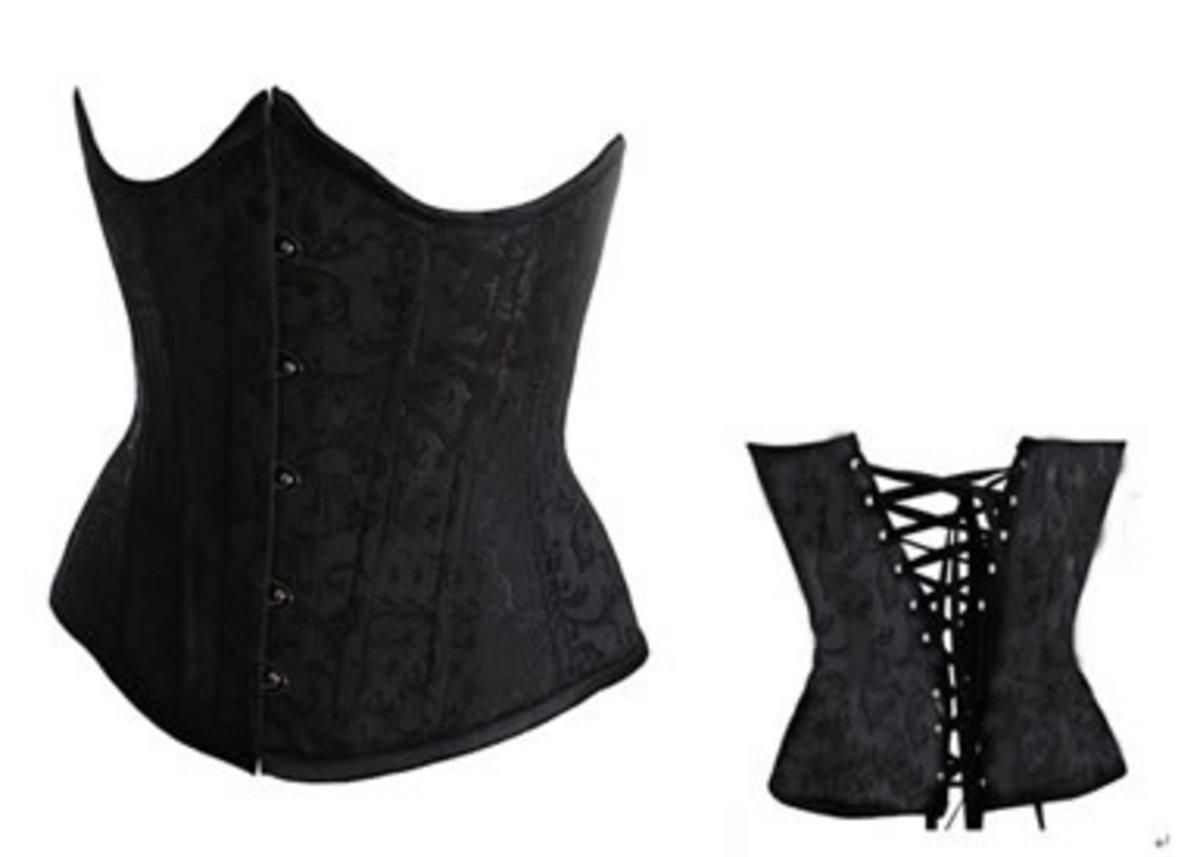 Black Underbust Lace Up Corset