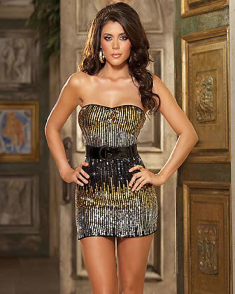 One peice Sexy Sequin Dress with belt for the Tall Slender body shape