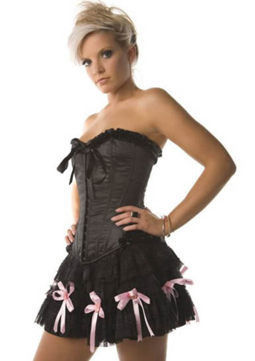 Strapless Black Corset Dress with Pink Bow Accents
