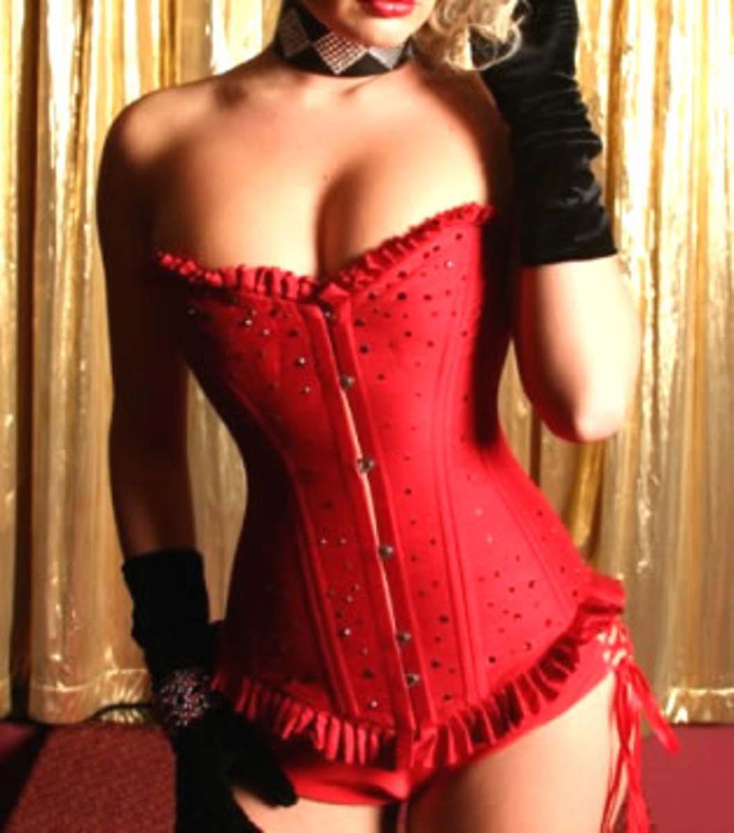 Sexy Red Sequin Corset with front closure.