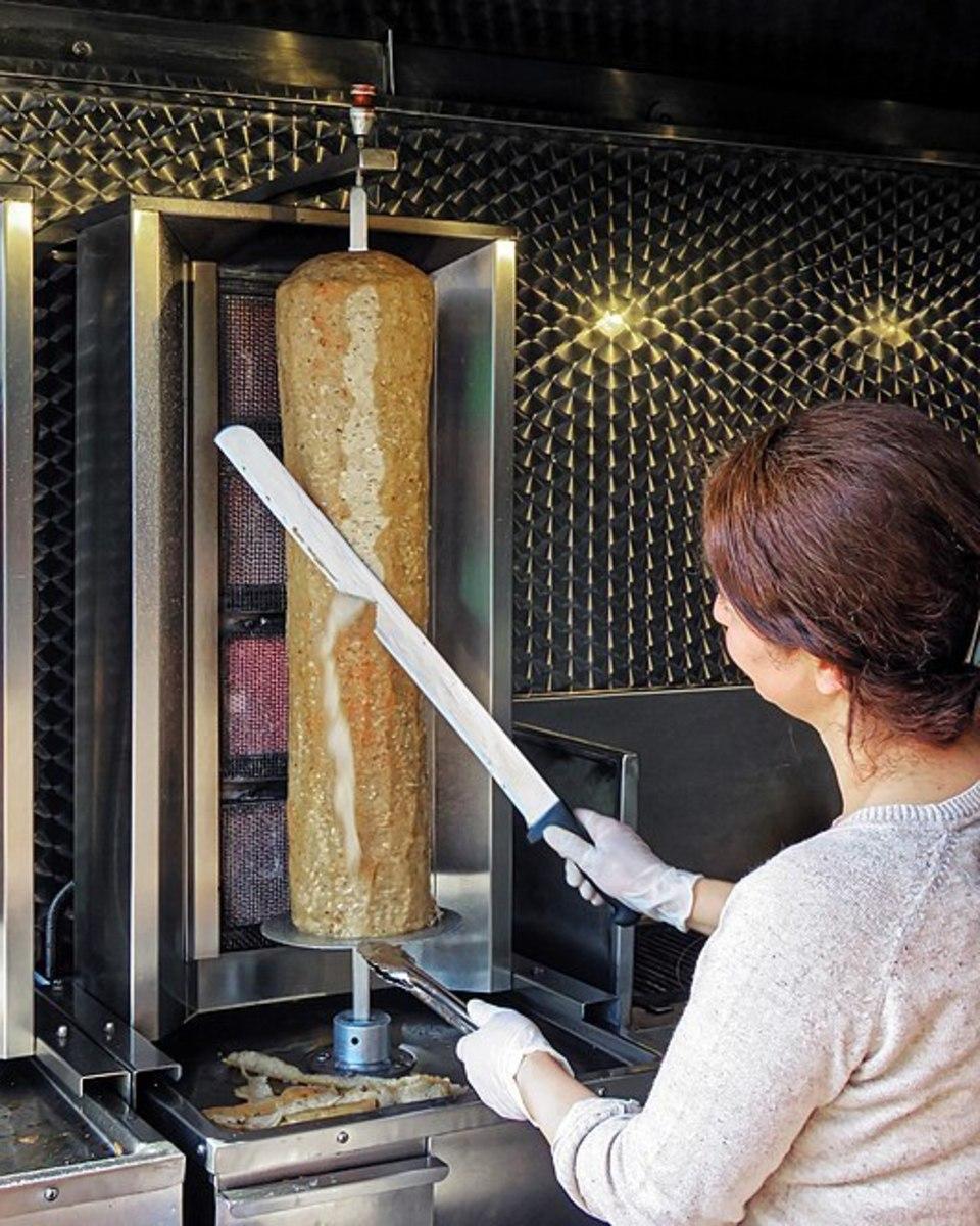 Slicing a Doner Kebab