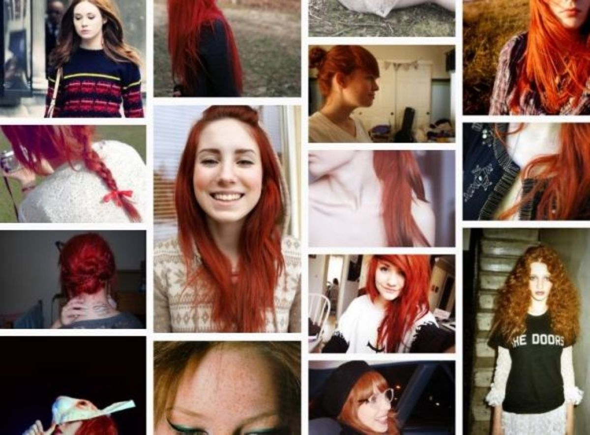 Various shades of red hair.