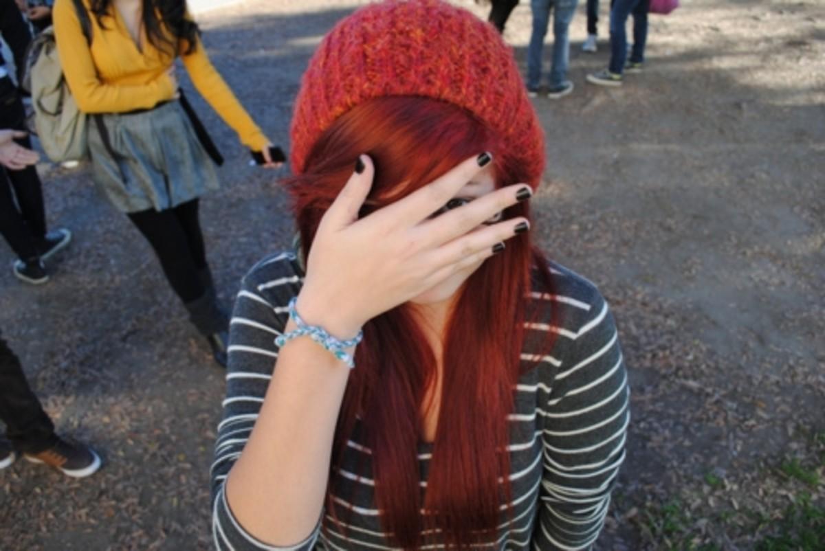Long vibrant red hair.