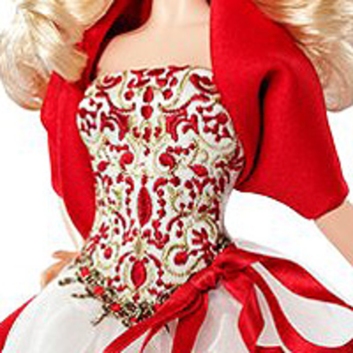 Barbie Collector 2010 dress is a beautiful red and golden bodice is an elegant way to celebrate the season.