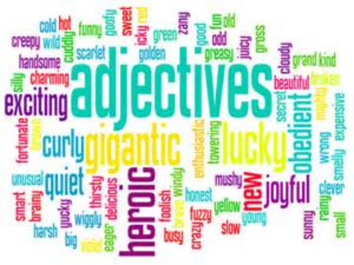English Language and Grammar - 'Adjectives, Nouns and Verbs - defined'