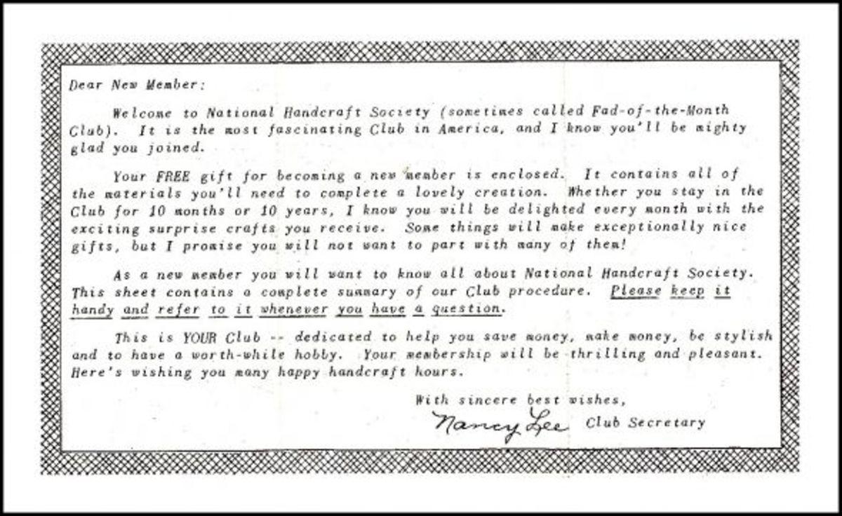 National Hand Craft Society - Dear New Member