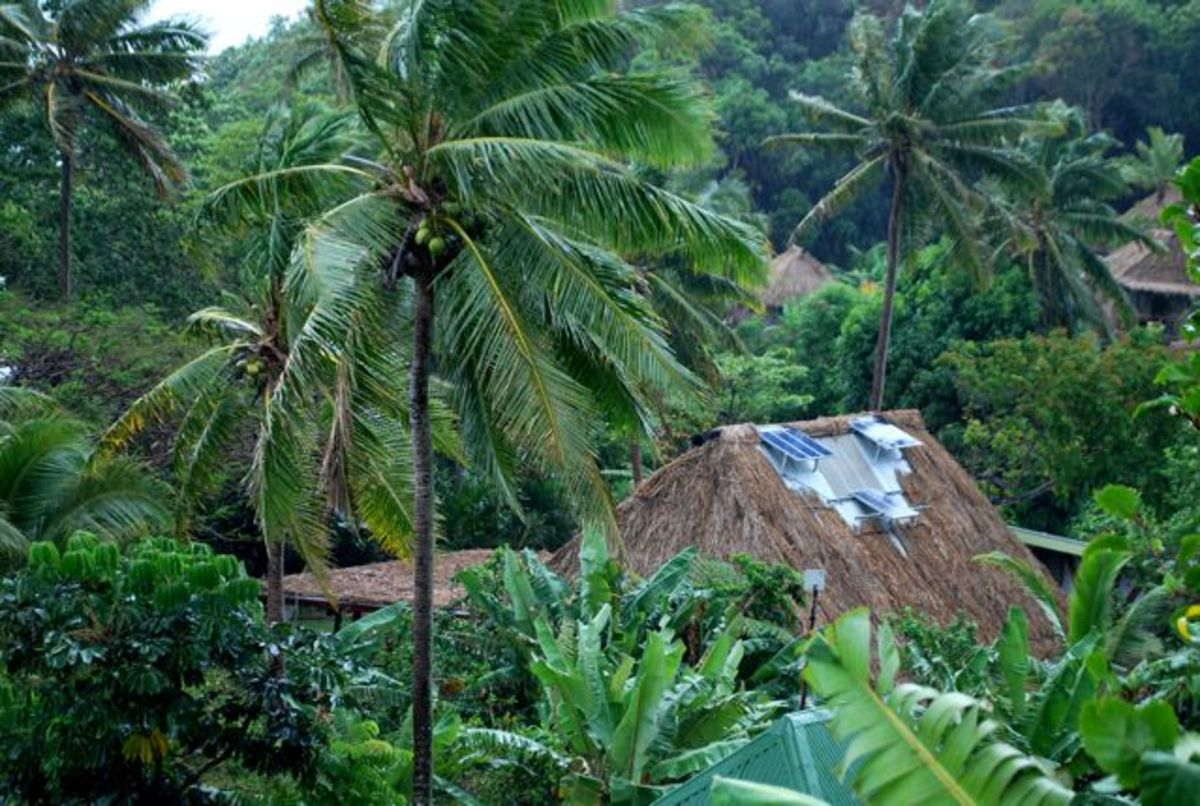 Solar panels installed on the rooftop of the lodge at Matava Fiji's Premier Eco Resort