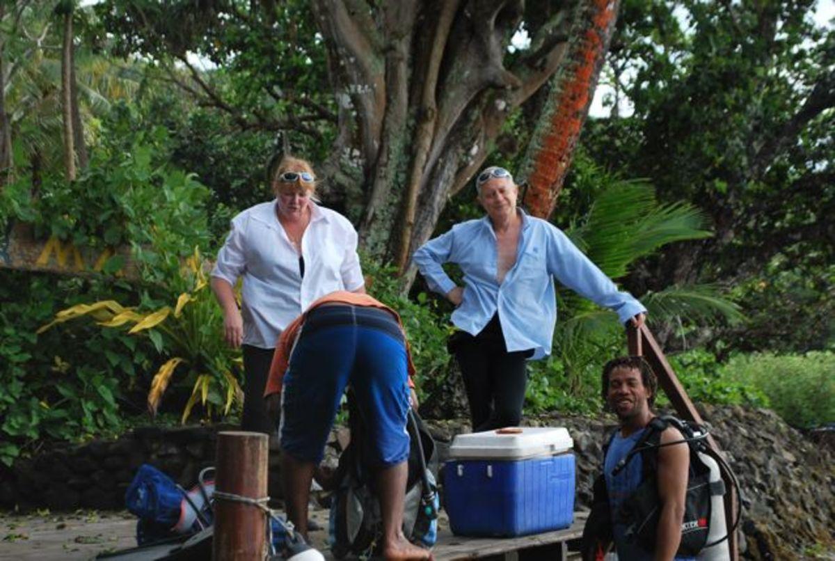 Preparing to go scuba diving at Matava Resort in Fiji