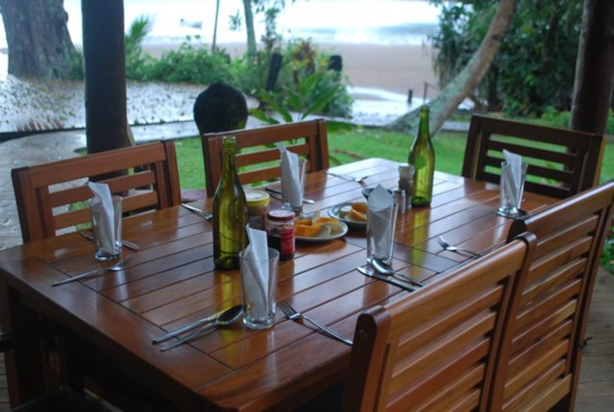 Breakfast table set at Matava Fiji's Premier Eco Resort
