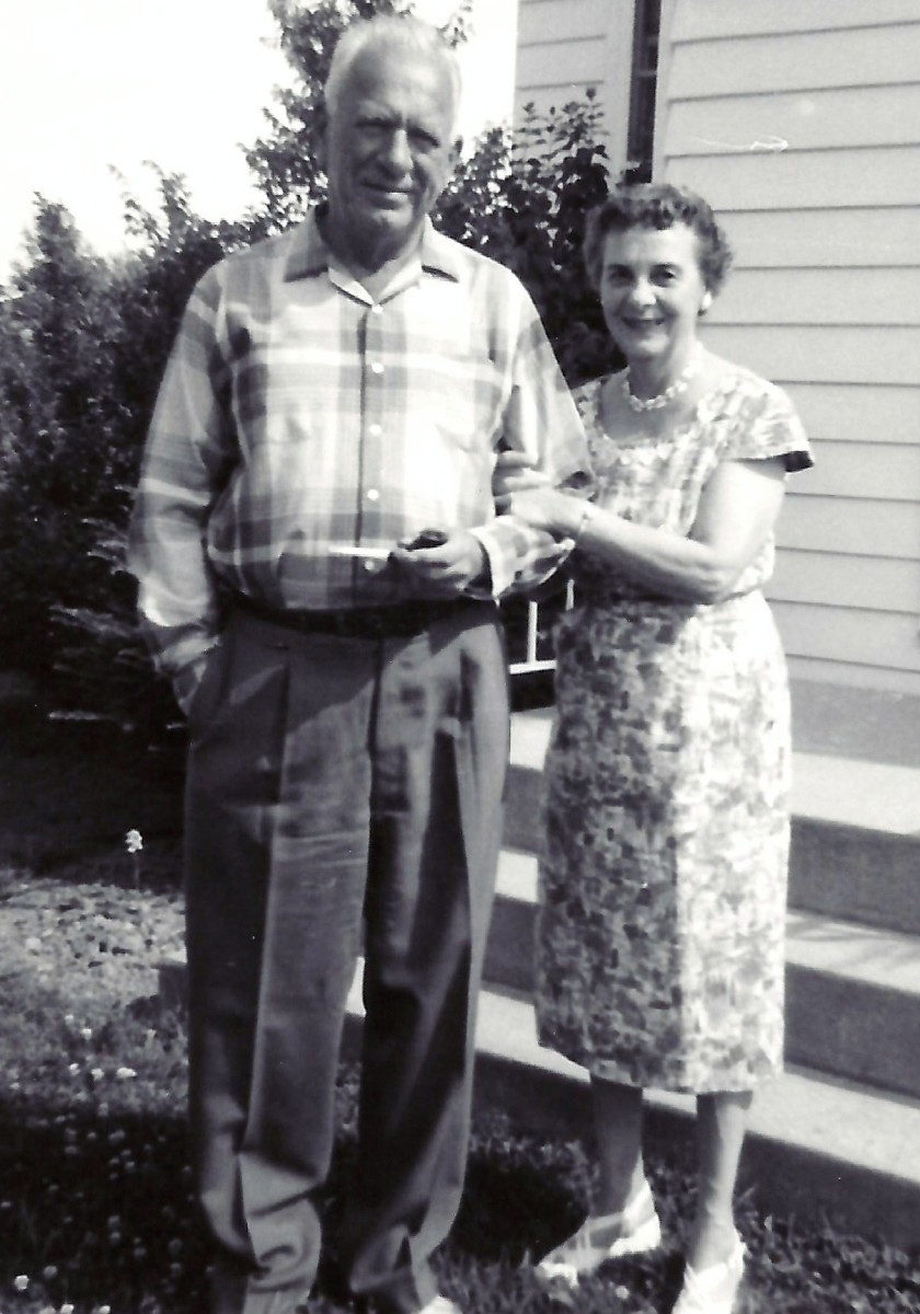Photo of my grandparents taken by me with my Brownie box camera in 1960.